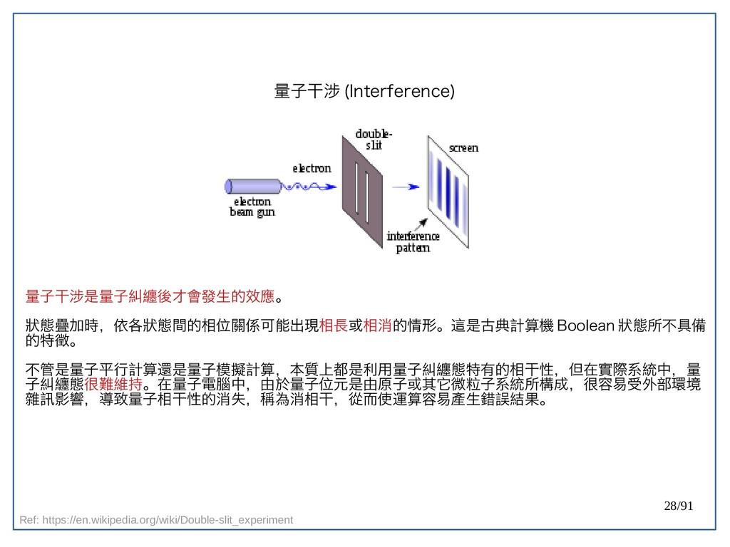 28/91 量子干涉 (double-Interference) 量子干涉是量子糾纏後才會發生...