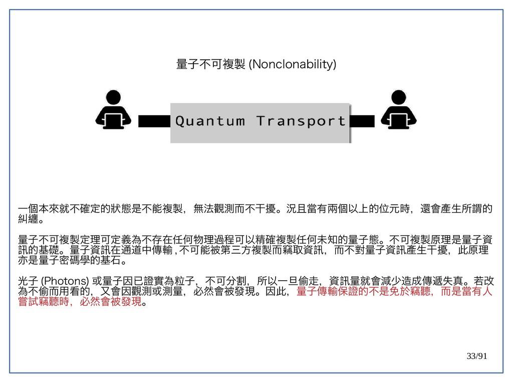 33/91 量子不可複製 (double-Nonclonability) 一個本來就不確定的狀...
