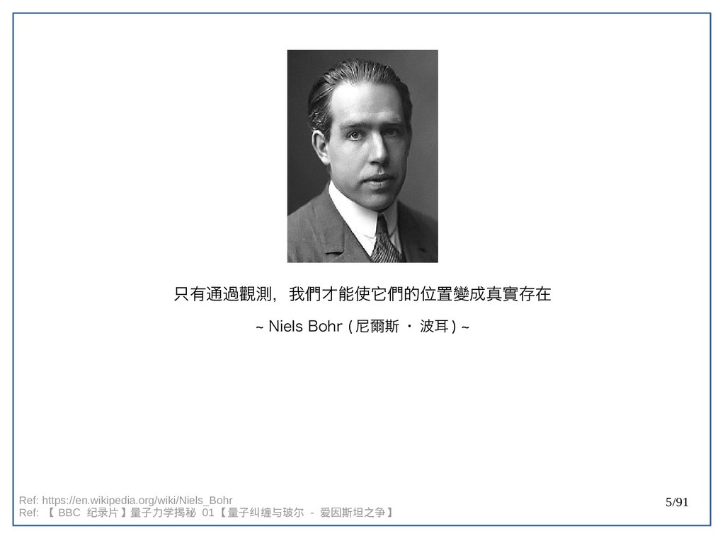 5/91 只有通過觀測,我們才能使它們的位置變成真實存在 ~ Niels Bohr (doub...
