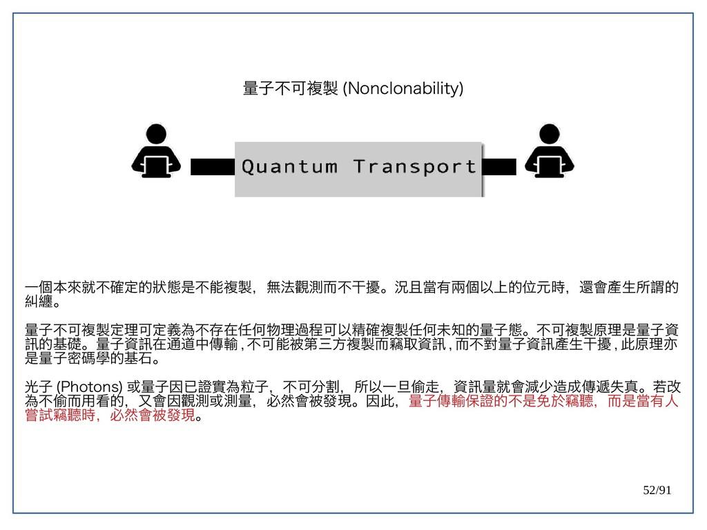 52/91 量子不可複製 (double-Nonclonability) 一個本來就不確定的狀...