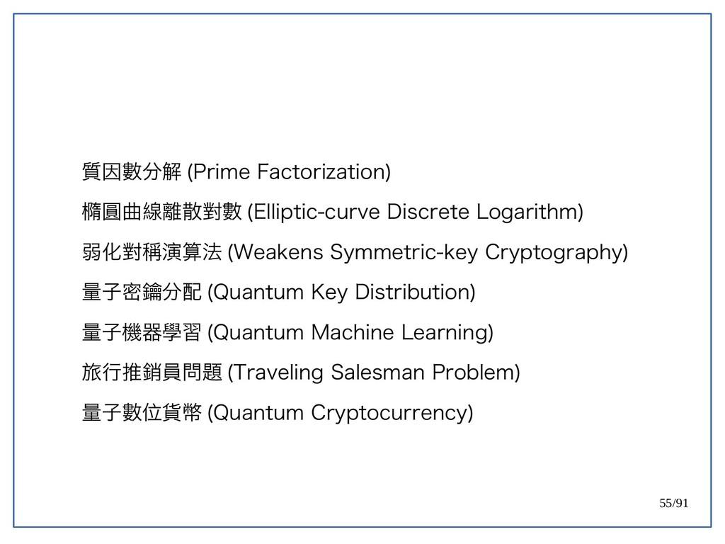 55/91 質因數分解 (double-Prime Factorization) 橢圓曲線離散...