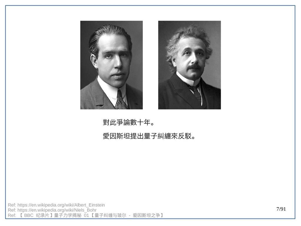 7/91 對此爭論數十年。 愛因斯坦提出量子糾纏來反駁。 Ref: https://en.wi...