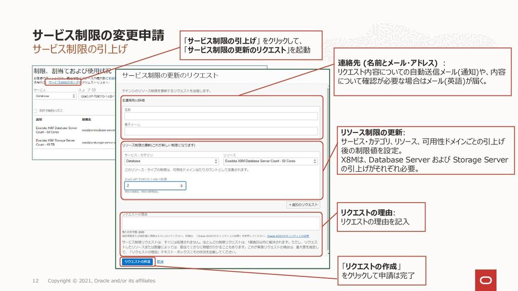 サービス制限の引上げ サービス制限の変更申請 Copyright © 2021, Oracle...
