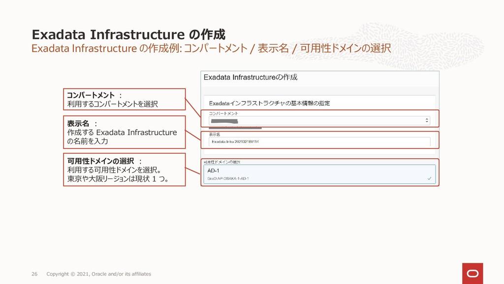 Exadata Infrastructure の作成例: コンパートメント / 表示名 / 可...