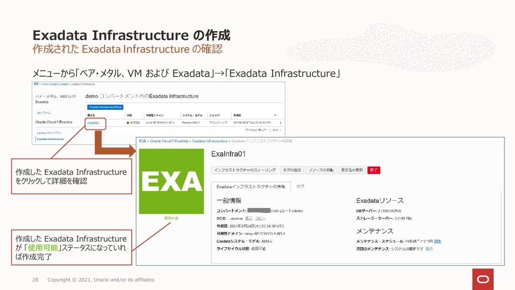 作成された Exadata Infrastructure の確認 メニューから「ベア・メタル、...