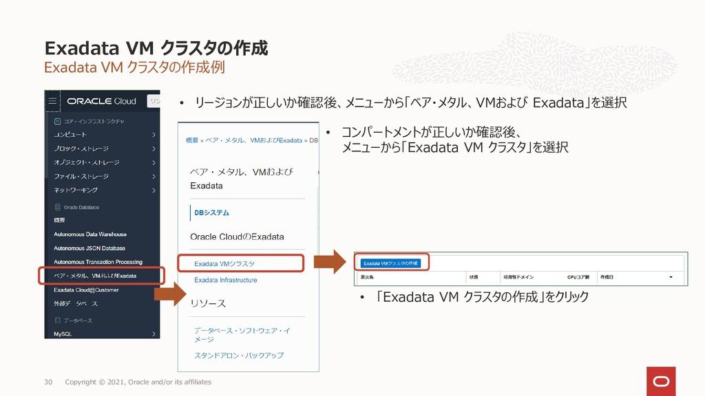 Exadata VM クラスタの作成例 Exadata VM クラスタの作成 Copyrigh...