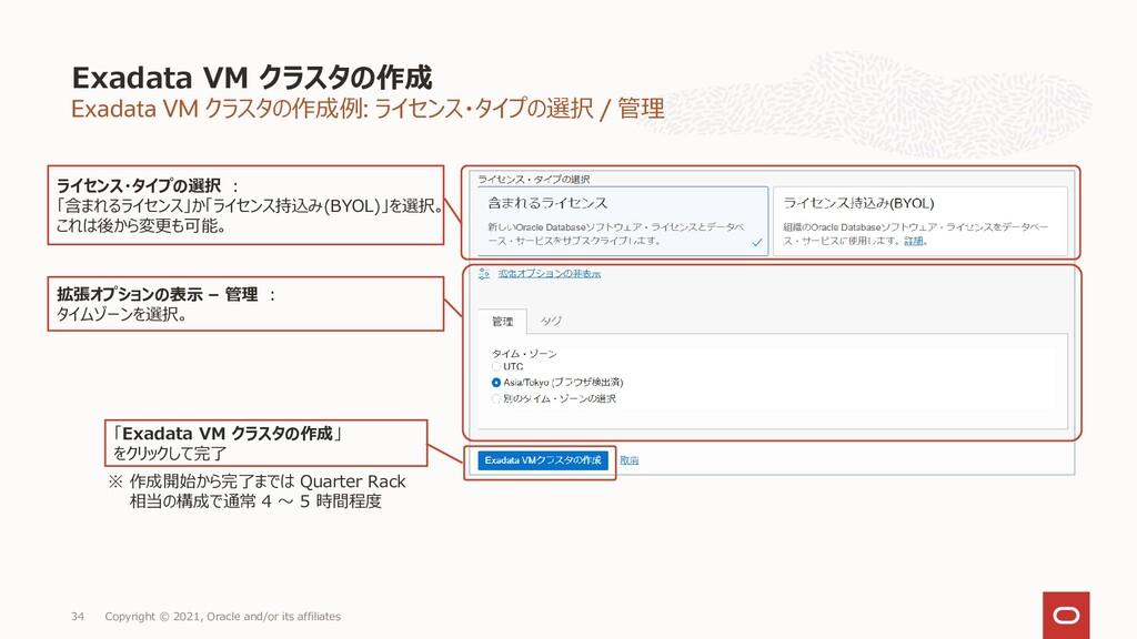 Exadata VM クラスタの作成例: ライセンス・タイプの選択 / 管理 Exadata ...