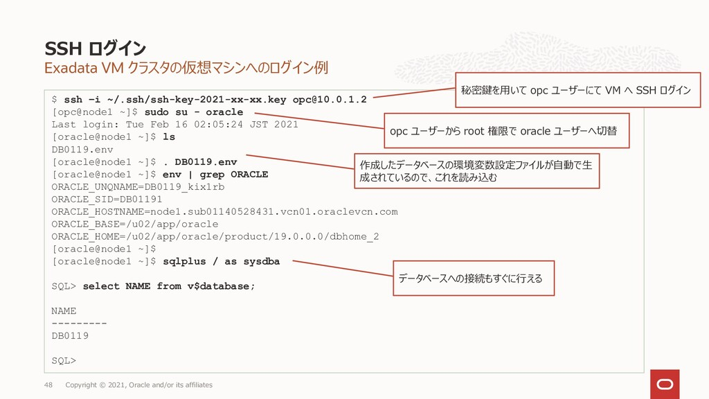 Exadata VM クラスタの仮想マシンへのログイン例 SSH ログイン Copyright...