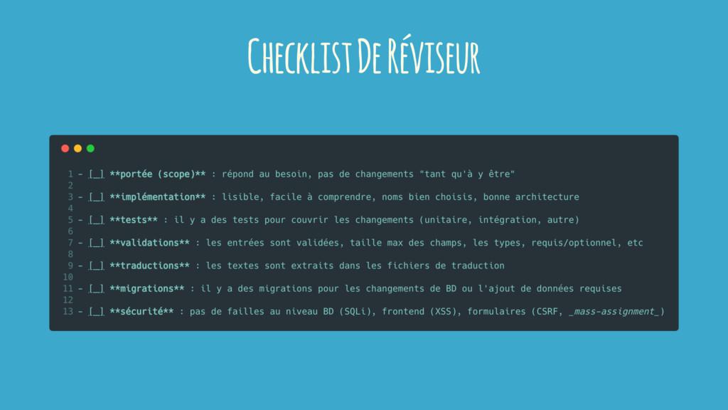 Checklist De Réviseur