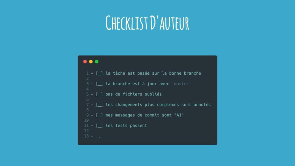 Checklist D'auteur