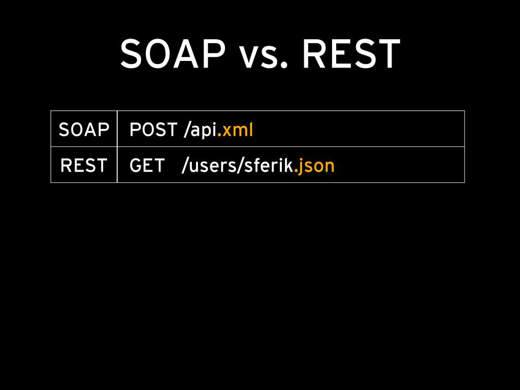 SOAP vs. REST SOAP POST /api.xml REST GET /user...