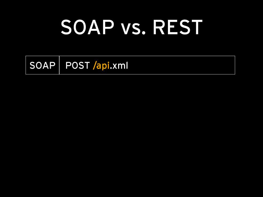 SOAP vs. REST SOAP POST /api.xml