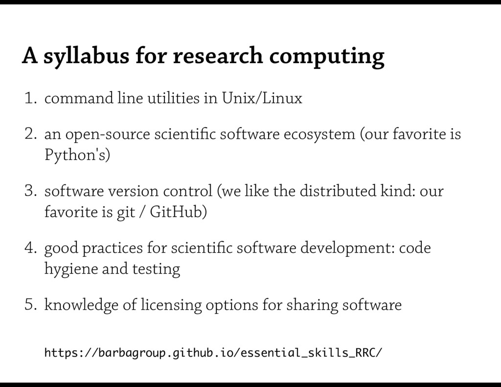 A syllabus for research computing 1. command li...