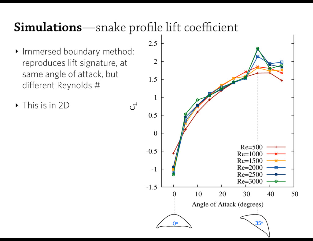 ‣ Immersed boundary method: reproduces lift si...