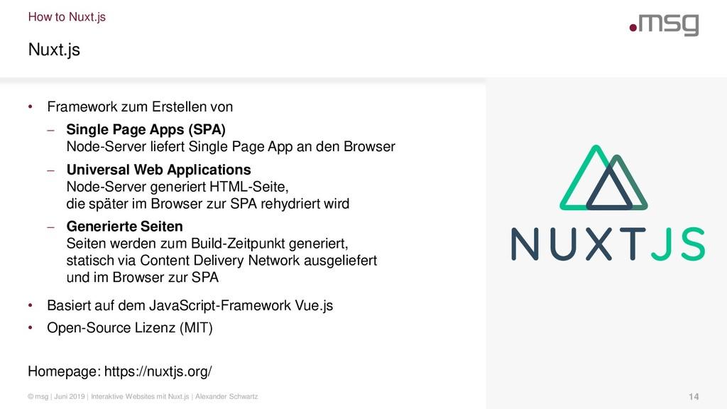 How to Nuxt.js Nuxt.js • Framework zum Erstelle...