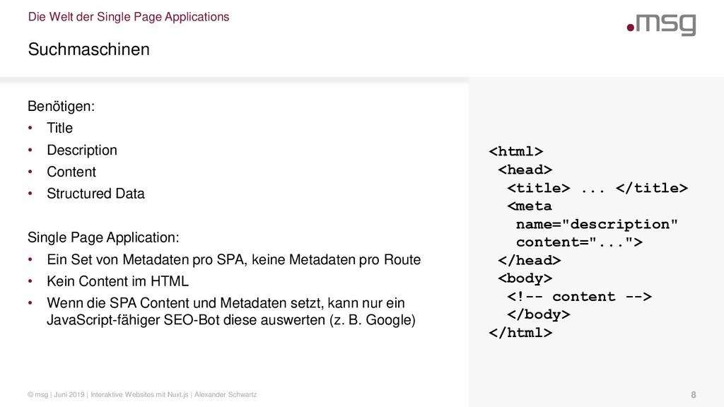 Die Welt der Single Page Applications Suchmasch...