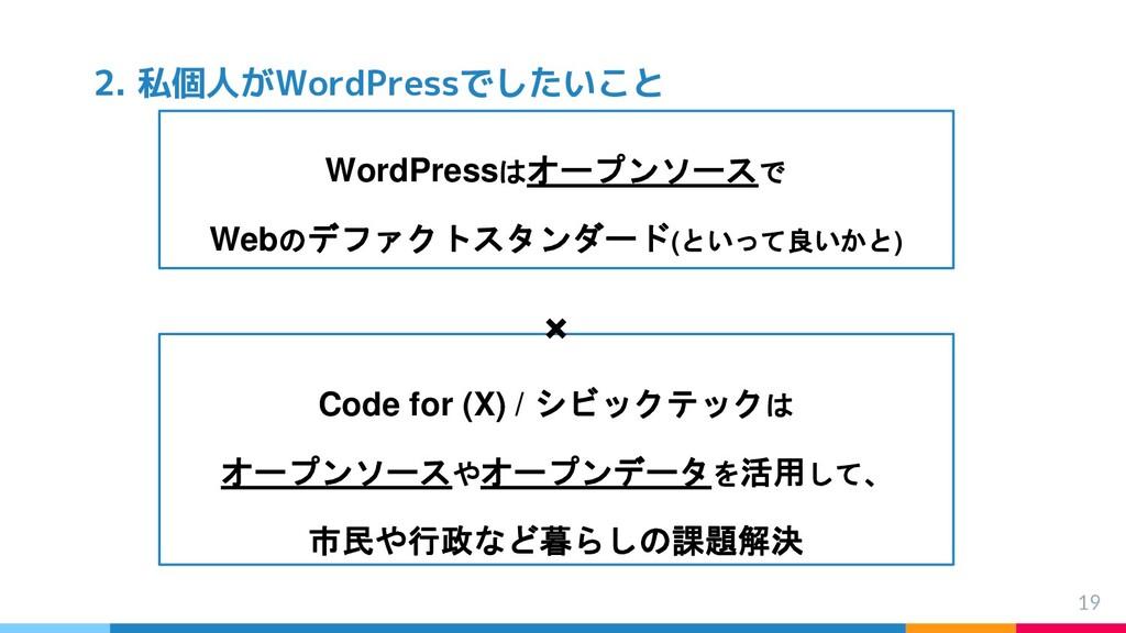 WordPressはオープンソースで Webのデファクトスタンダード(といって良いかと) × ...