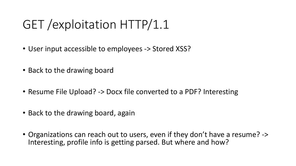 GET /exploitation HTTP/1.1 • User input accessi...