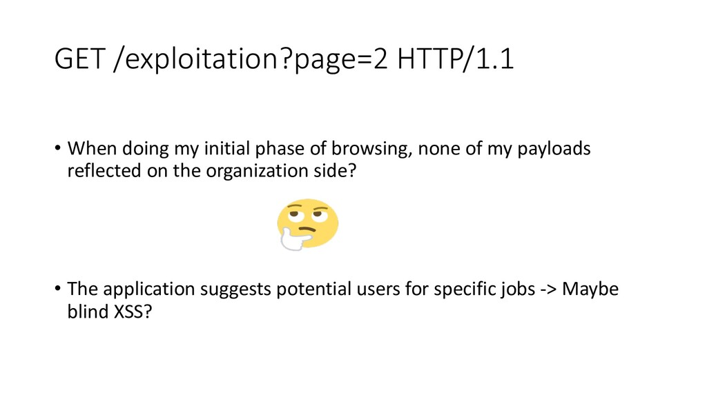 GET /exploitation?page=2 HTTP/1.1 • When doing ...
