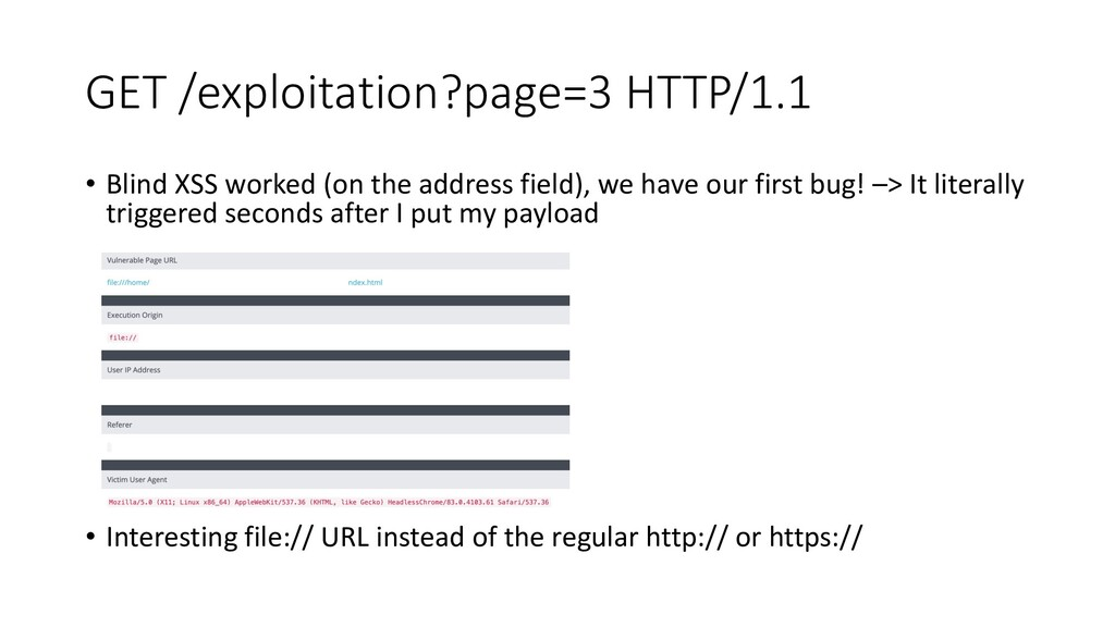 GET /exploitation?page=3 HTTP/1.1 • Blind XSS w...