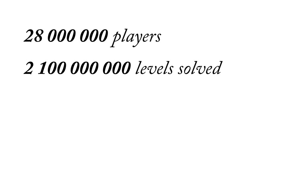 28 000 000 players 2 100 000 000 levels solved