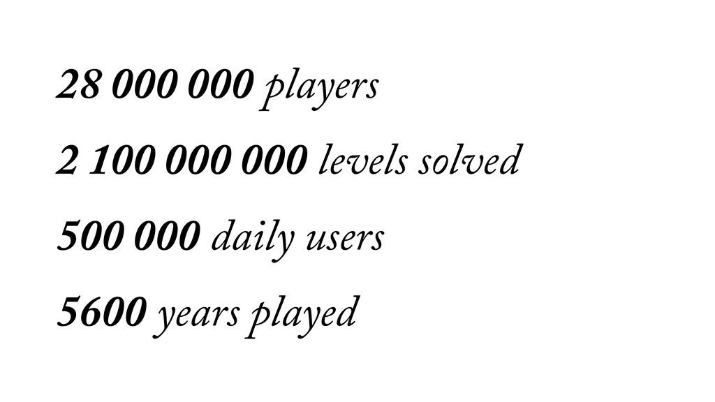 28 000 000 players 2 100 000 000 levels solved ...