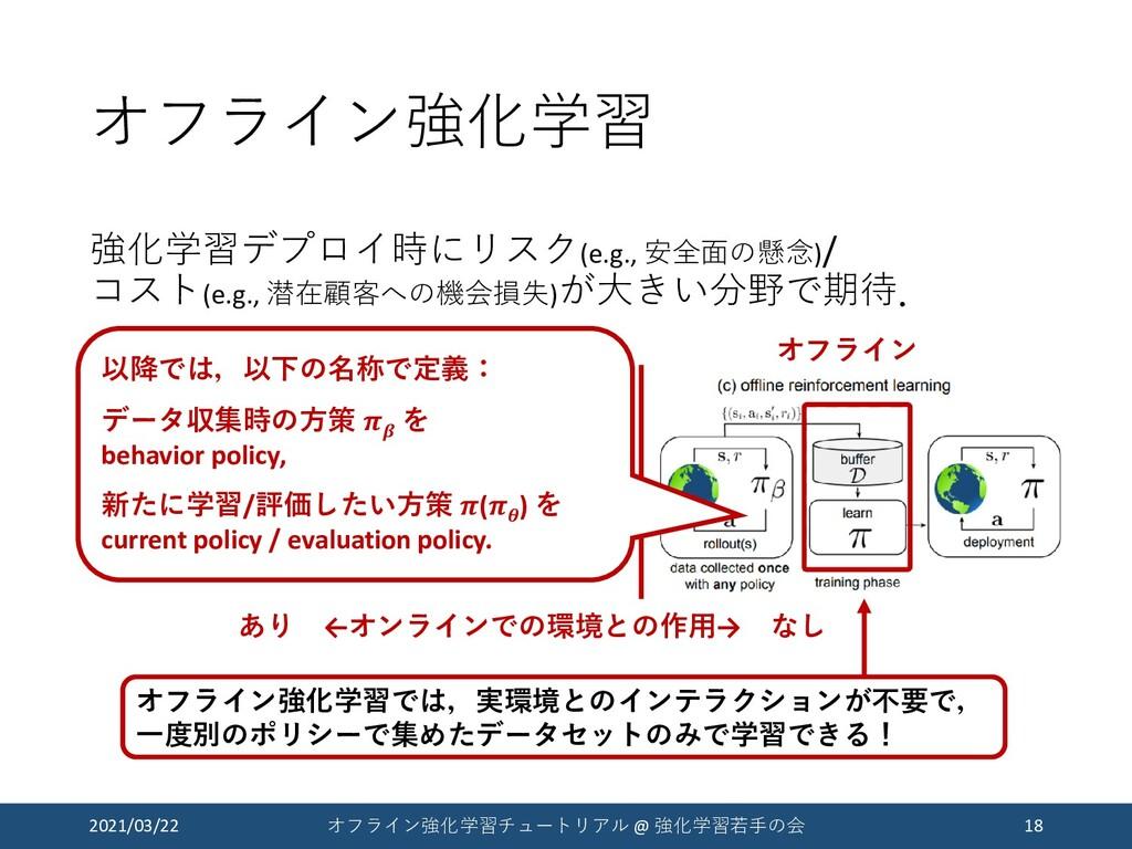 オフライン強化学習 強化学習デプロイ時にリスク(e.g., 安全面の懸念)/ コスト(e.g....