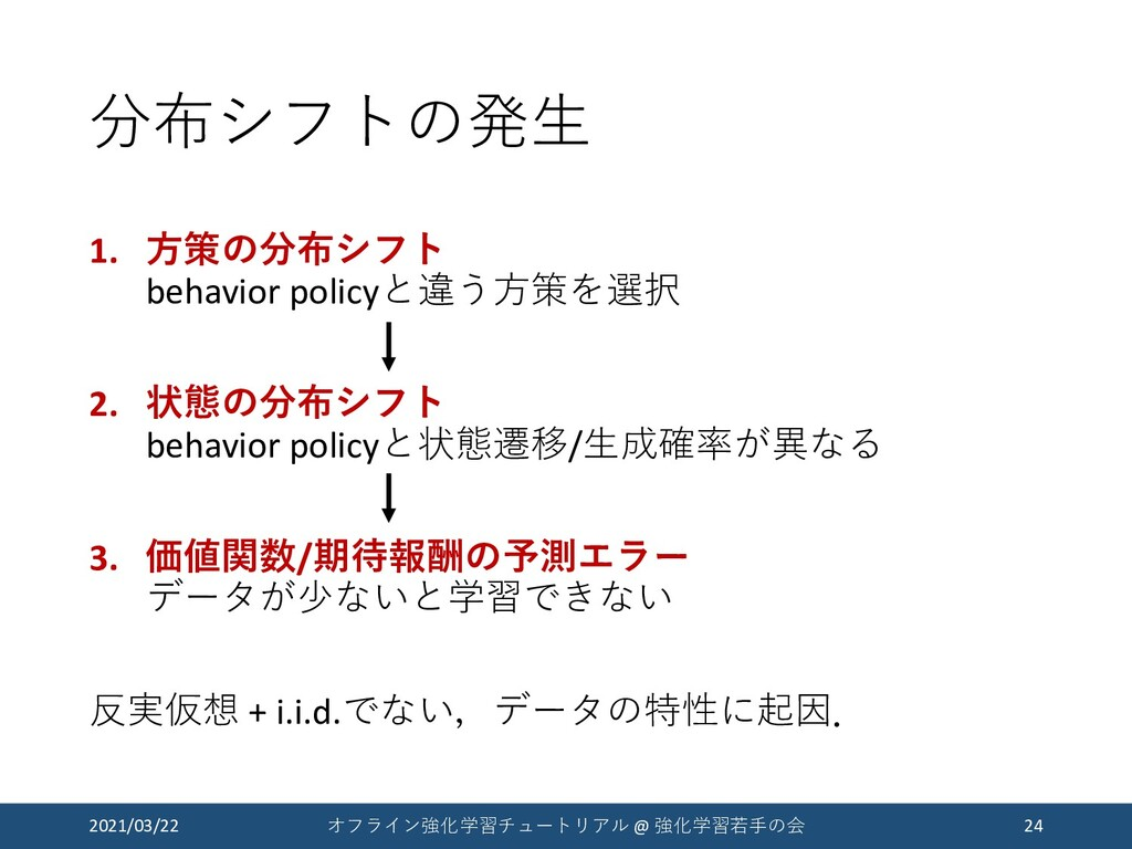 分布シフトの発生 1. 方策の分布シフト behavior policyと違う方策を選択 2....
