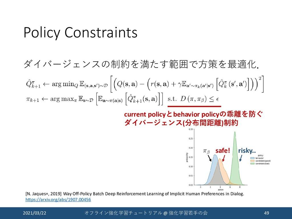 Policy Constraints ダイバージェンスの制約を満たす範囲で方策を最適化. 20...