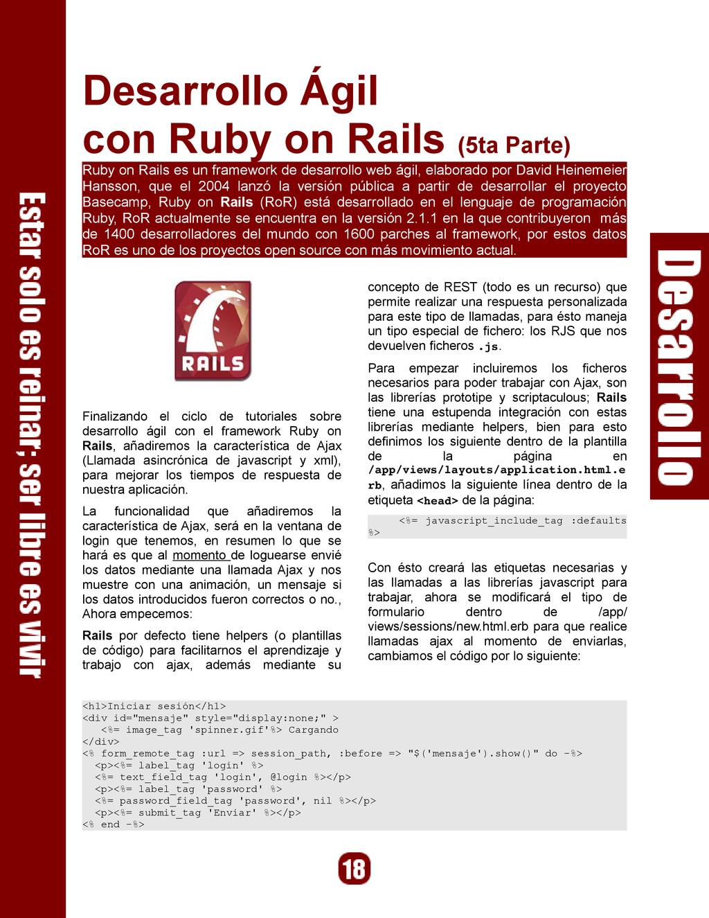 Desarrollo Ágil con Ruby on Rails (5ta Parte) R...