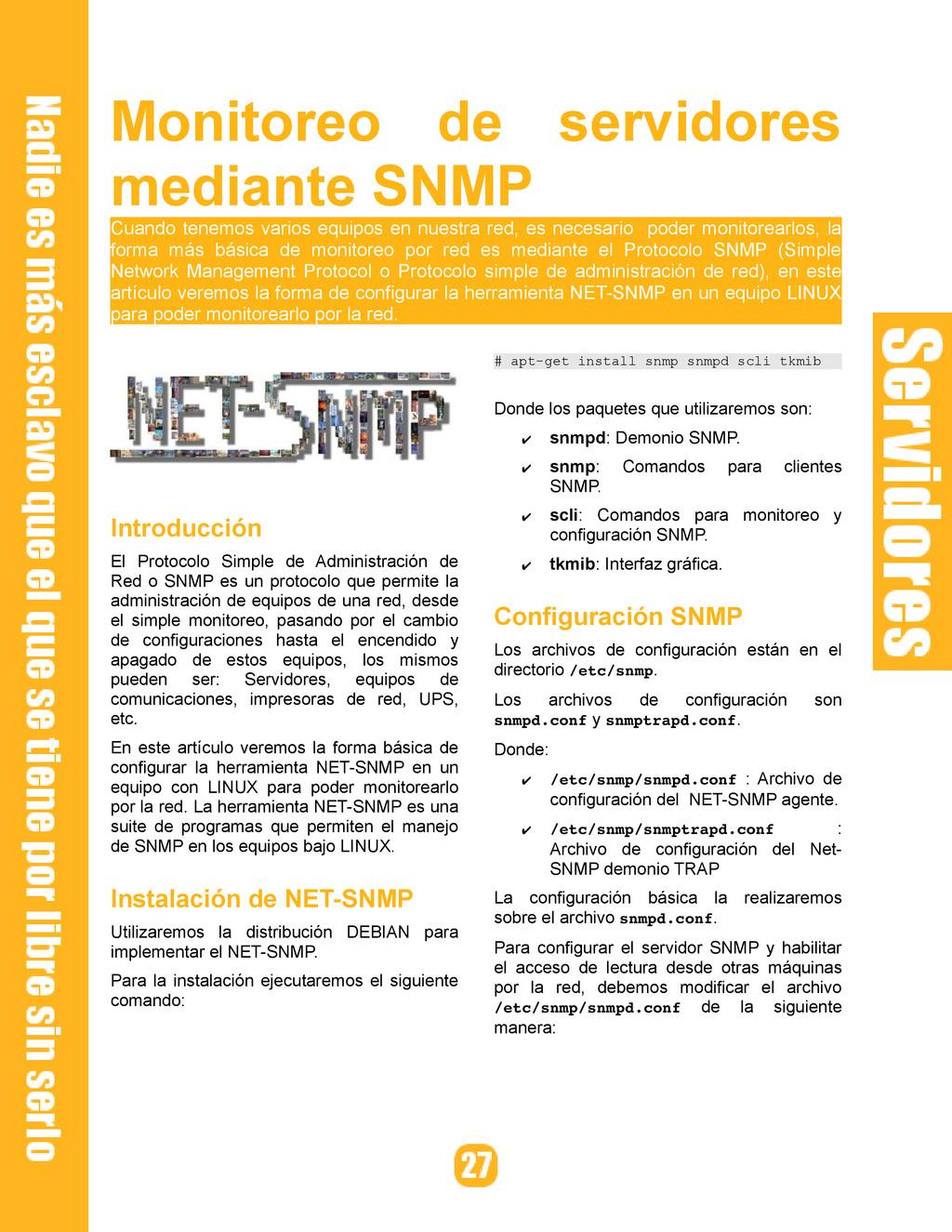 Monitoreo de servidores mediante SNMP Cuando te...