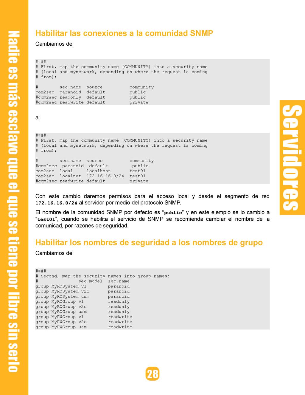 Habilitar las conexiones a la comunidad SNMP Ca...