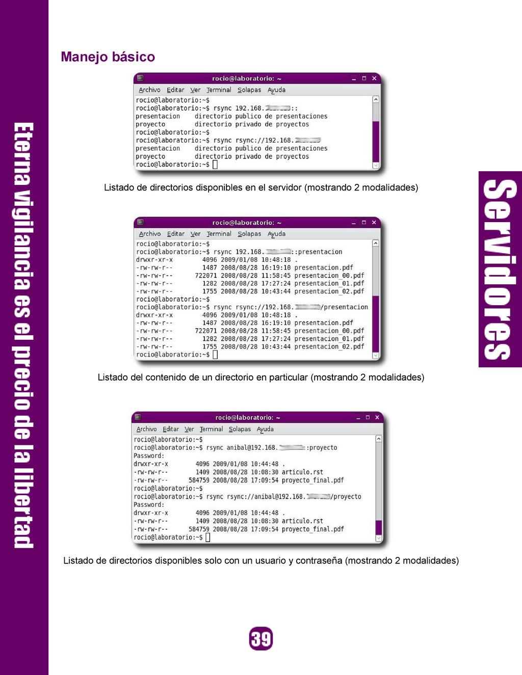 Manejo básico Listado de directorios disponible...