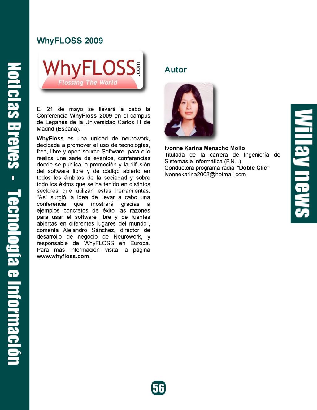 WhyFLOSS 2009 El 21 de mayo se llevará a cabo l...