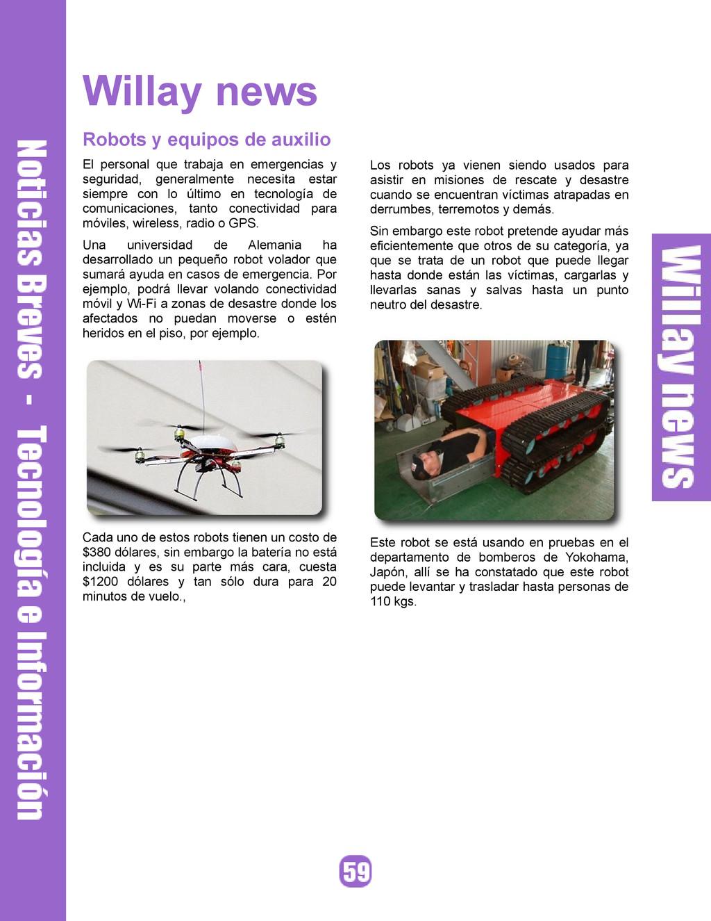 Willay news Robots y equipos de auxilio El pers...
