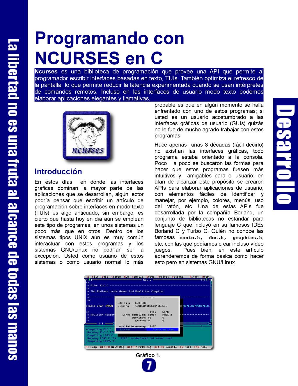 Programando con NCURSES en C Ncurses es una bib...