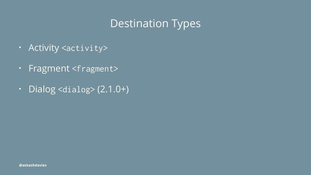 Destination Types • Activity <activity> • Fragm...