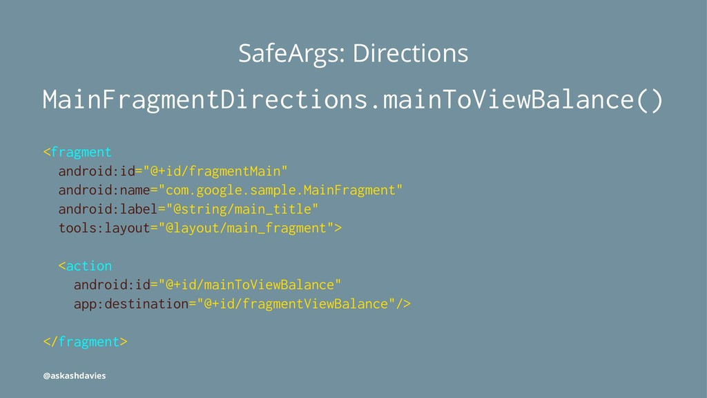 SafeArgs: Directions MainFragmentDirections.mai...