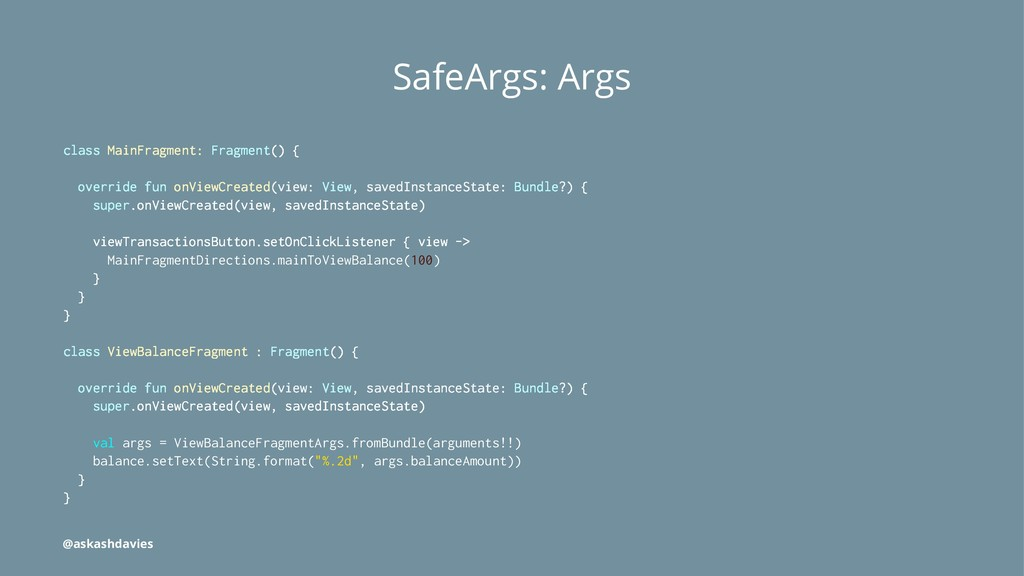 SafeArgs: Args class MainFragment: Fragment() {...
