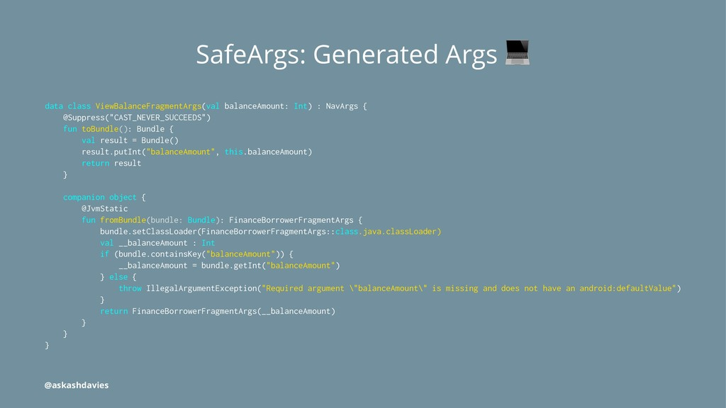 SafeArgs: Generated Args data class ViewBalance...