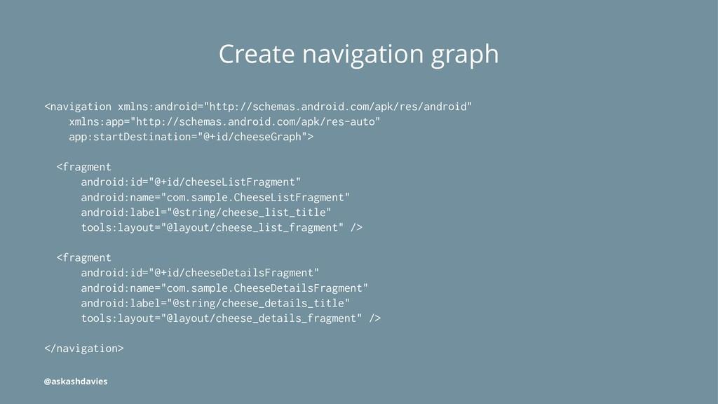 Create navigation graph <navigation xmlns:andro...