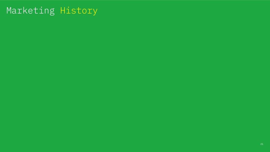 21 Marketing History