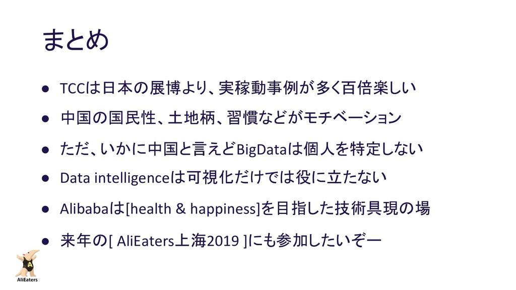 まとめ ● TCCは日本の展博より、実稼動事例が多く百倍楽しい ● 中国の国民性、土地柄、習慣...