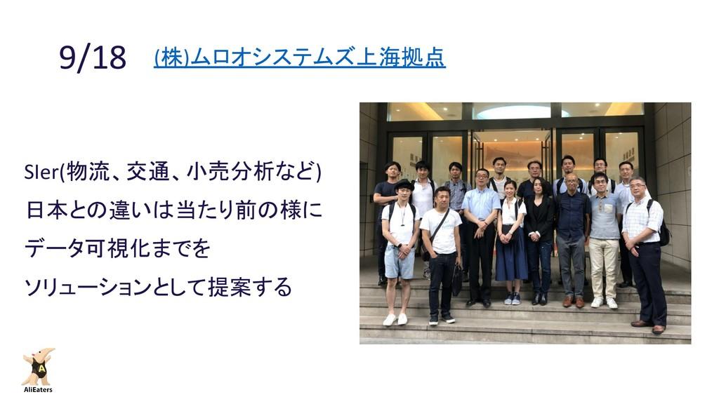 9/18 (株)ムロオシステムズ上海拠点 SIer(物流、交通、小売分析など) 日本との違いは...