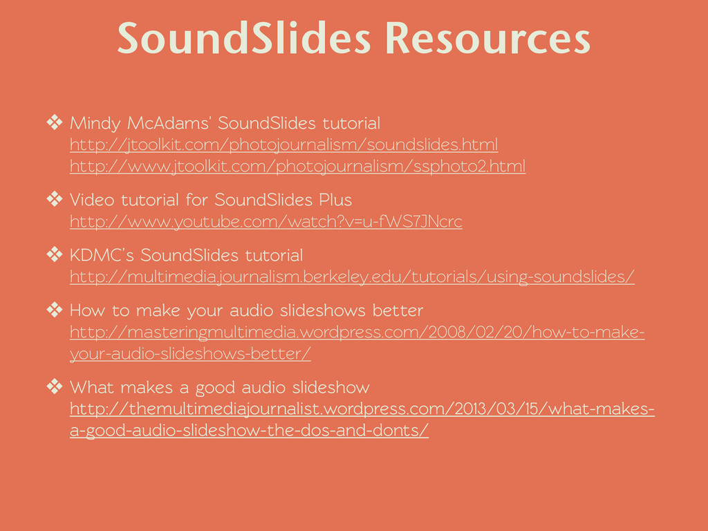 SoundSlides Resources ❖ Mindy McAdams' SoundSli...