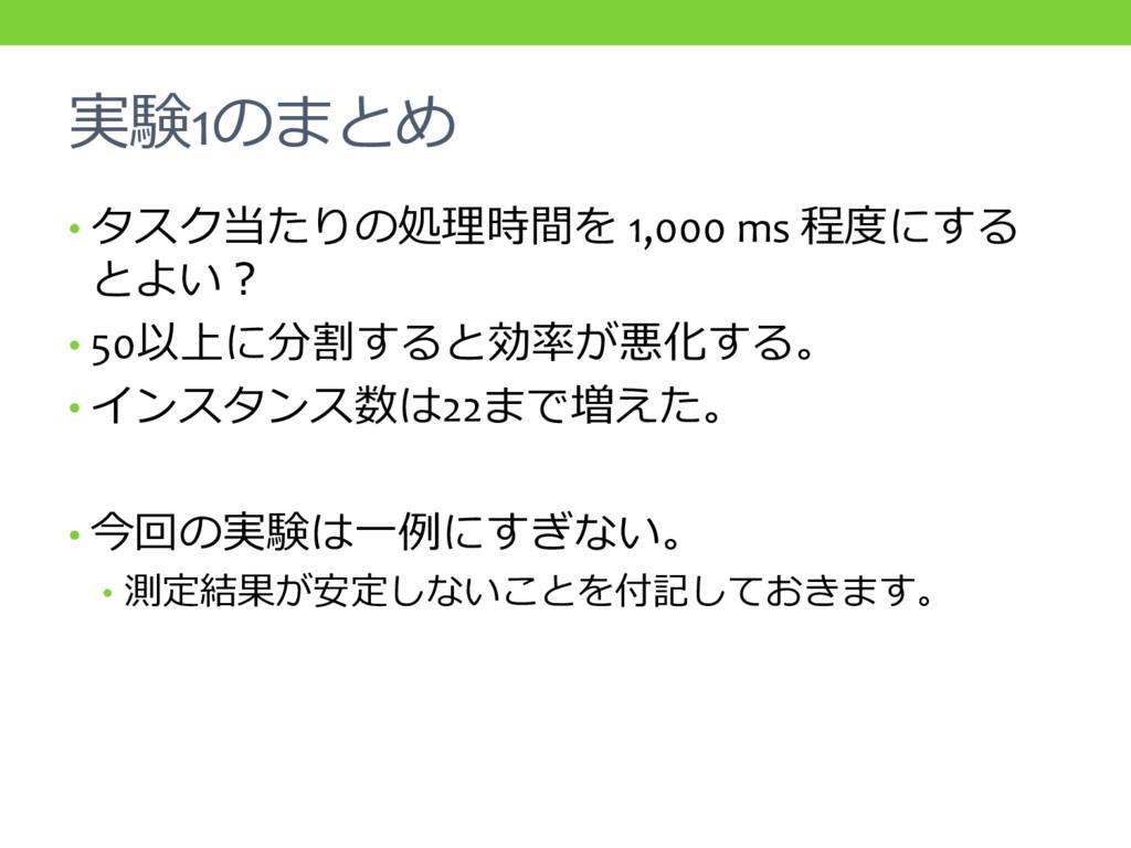 実験1のまとめ • タスク当たりの処理時間を 1,000 ms 程度にする とよい? • 50...