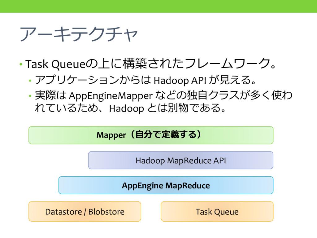 アーキテクチャ • Task Queueの上に構築されたフレームワーク。 • アプリケーション...