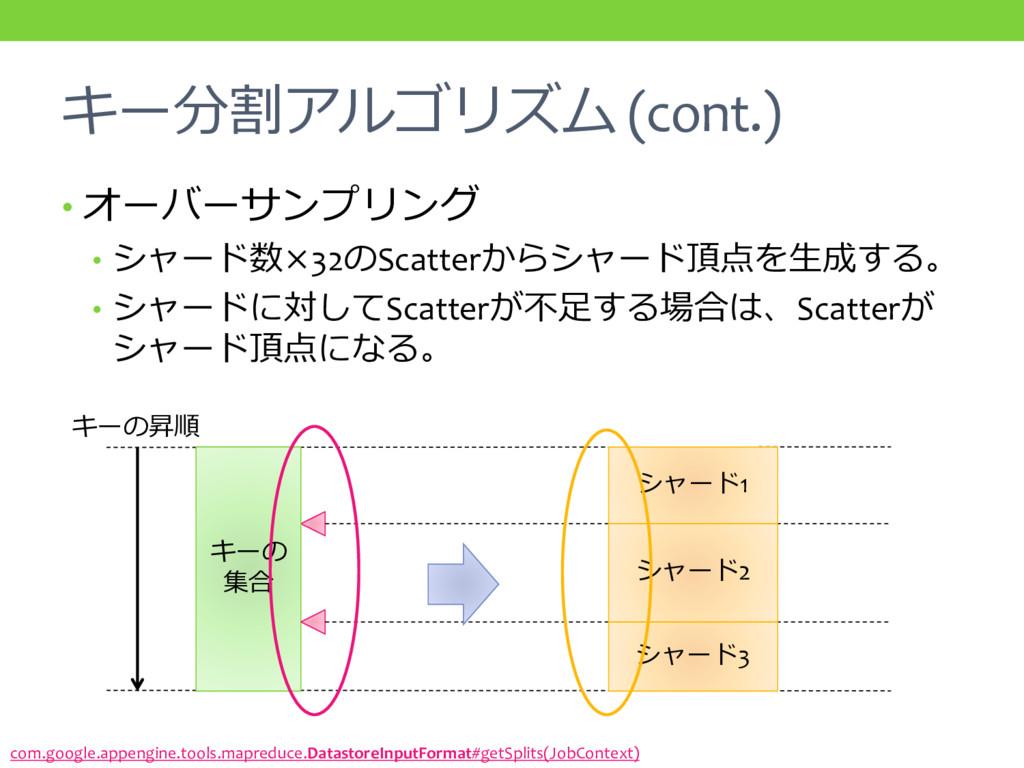 キー分割アルゴリズム (cont.) • オーバーサンプリング • シャード数×32のScat...