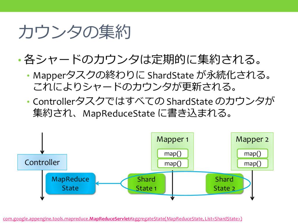 カウンタの集約 • 各シャードのカウンタは定期的に集約される。 • Mapperタスクの終わり...