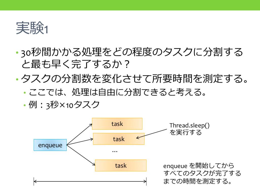 実験1 • 30秒間かかる処理をどの程度のタスクに分割する と最も早く完了するか? • タスク...